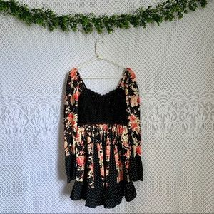 Free People Floral & Polka Dot Sweetheart Dress